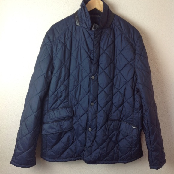 6540a34e7 Zara Man Navy Quilted Car Coat Lightweight Puffer